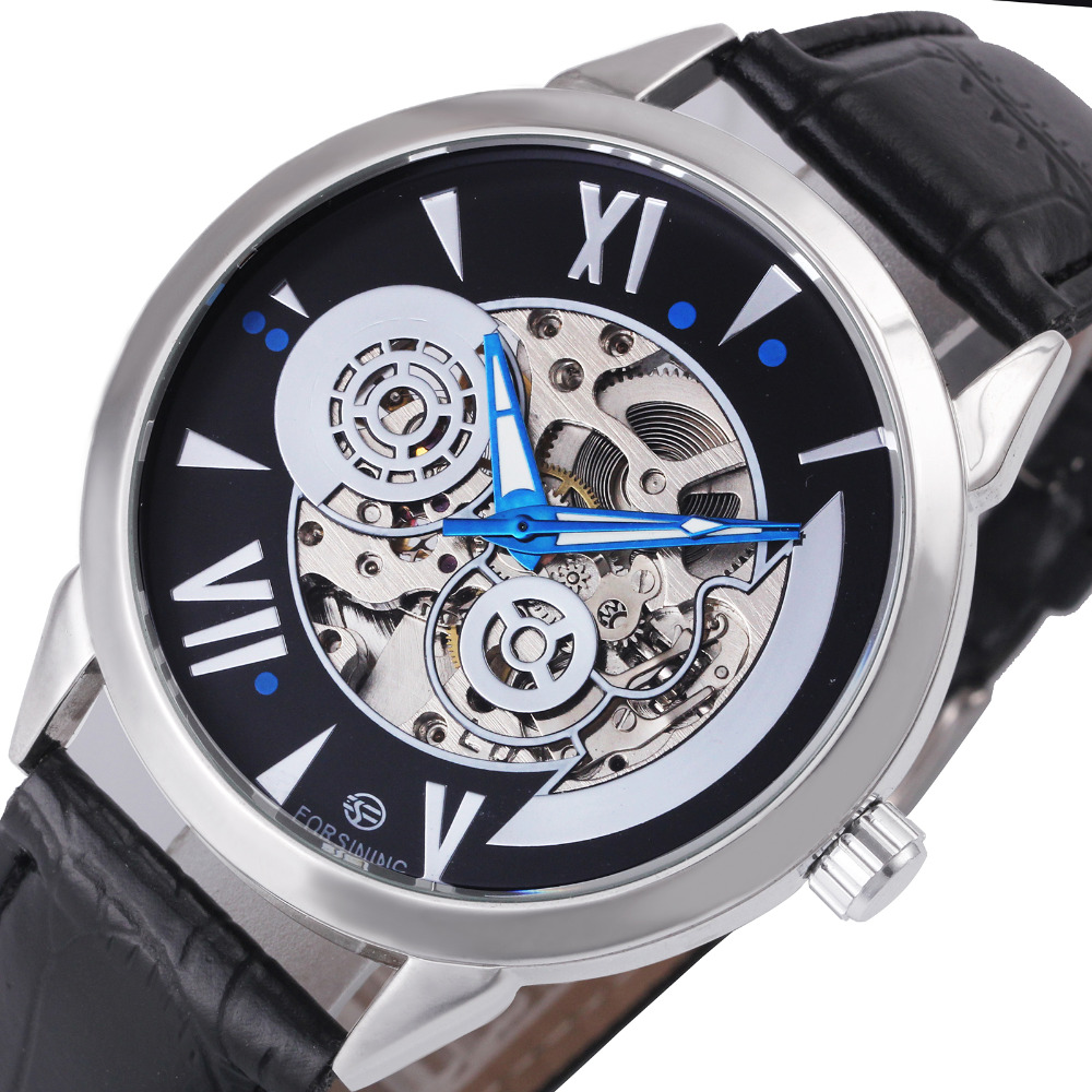 Top Brand Fashion Men's Mechanical Watches Leather Strap Concise Roman Number Design Dial Automatic Skeleton Watches for Male