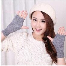 Распродажа, перчатки из натуральной овечьей шерсти, женские перчатки с открытыми пальцами, зимняя Осенняя вязаная одежда для женщин, перчатки без пальцев, рукавицы на запястье