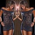 Women Sexy Underwear Babydoll Sleepwear Lace Dress  Sleepshirts  Plus Size Black XXL