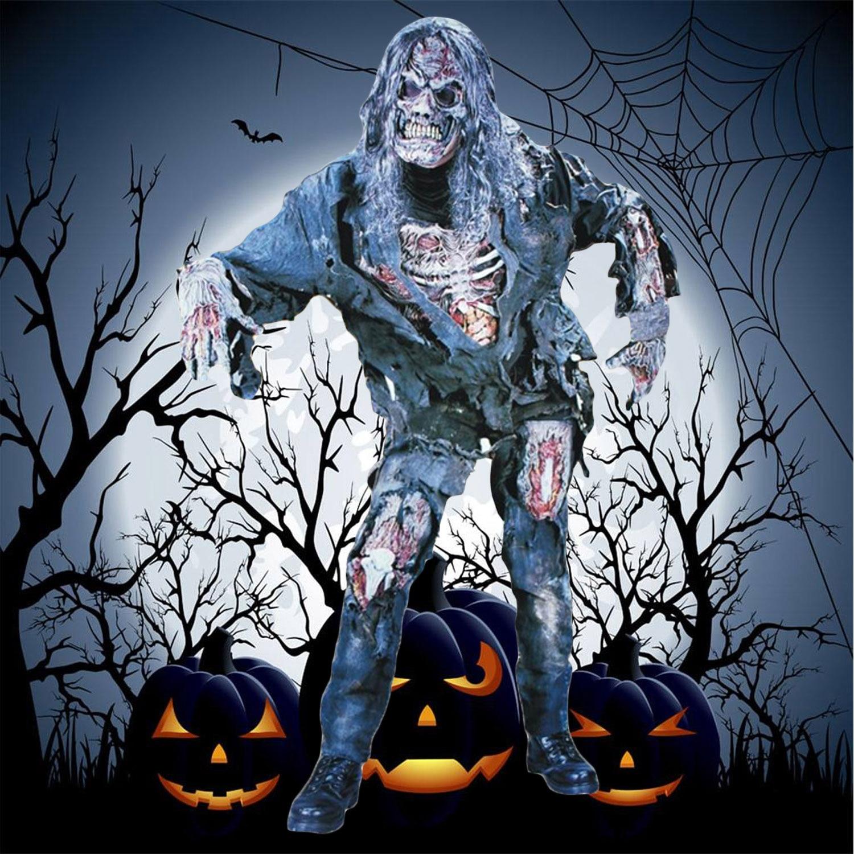 Garçons Filles Adulte Horreur Effrayant The Walking Dead Zombie Costume avec Chemise Pantalon Gants Masque pour Halloween Party Cosplay Rôle jouer