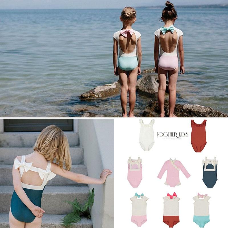 Toddler Girls Sweet Swimming Suits Baby Hawaii Clothes Kids Girls Bow Tie Swimwear Children Brand Swimsuits Cute Girl Swimwear