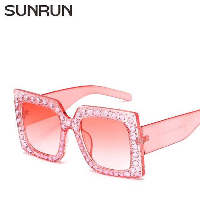 7e985df27e SUNRUN New Fashion Oversized Sunglasses Women Brand Designer Crystal Square  Sun Glasses Classic Rhinestone Eyewear 66226