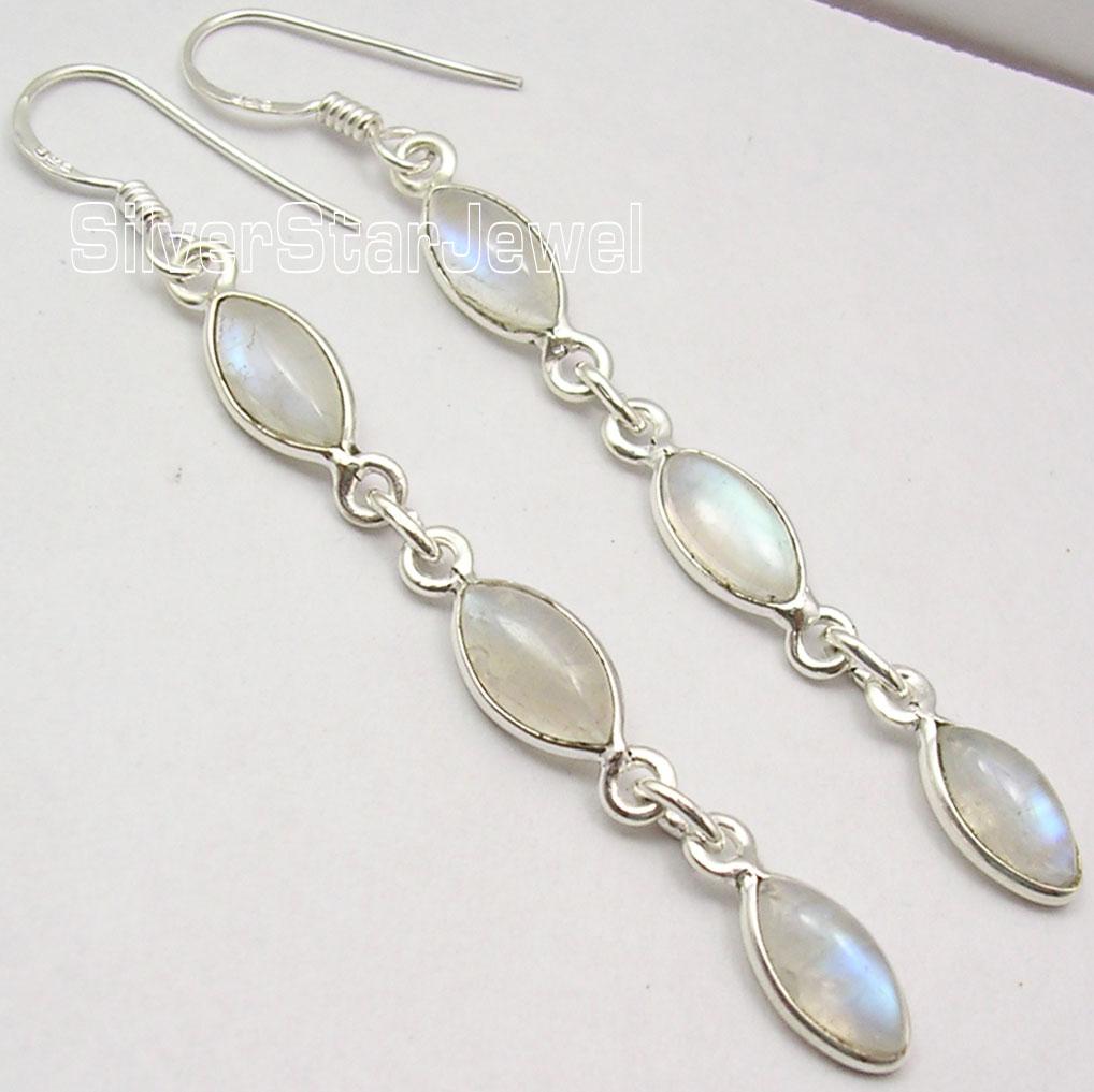 Chanti International Solid Silver Blue fire RAINBOW MOONSTONE LONG FRENCH WIRE Earrings 6 6 CM