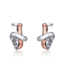Luxury Scarf Shape Stud Earrings Double Color Rose Golden Silver Fashion Womens Wedding Party jewelry