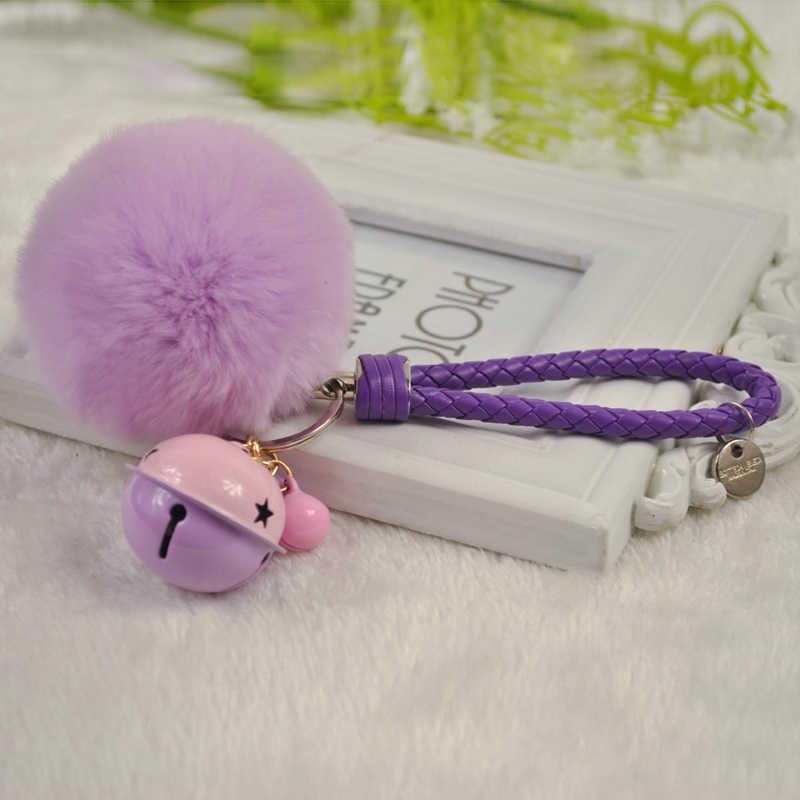 Fluffy Rabbit Fur Pom Pom Pompom Pele De Coelho Keychain Llavero Chaveiro Chaveiro De Metal Sino de Pulso de Couro Corda Charme Saco pingente