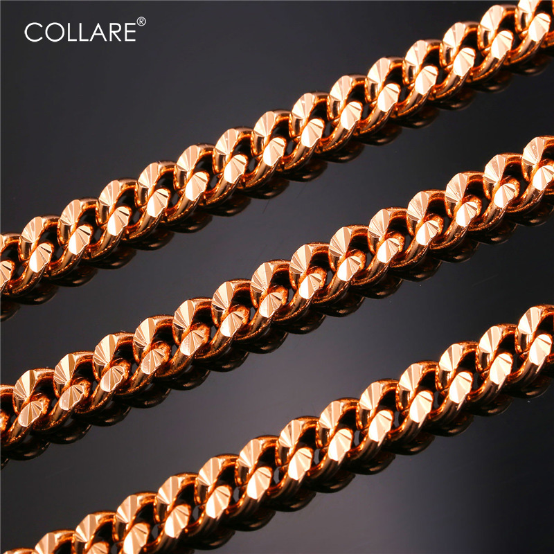 Collare Chain For Men Hiphop Necklace Wholesale Rose Gold/Black Gun/Gold/Silver Color Cuban Link Men Jewelry Kpop N636