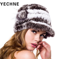 Women Rex Rabbit Fashion Flower Warm Snow Ball Cap Winter Hats For Girls Skull Cap Real