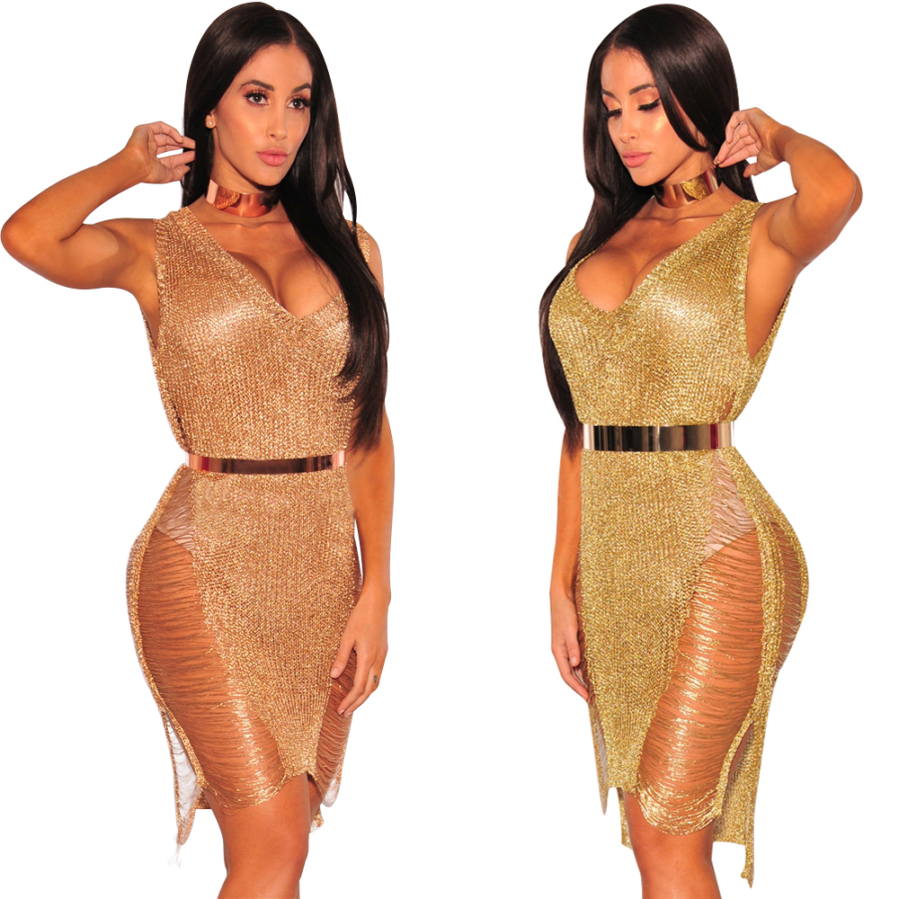 ROSESAKURA Sweater Dress Golden Thread