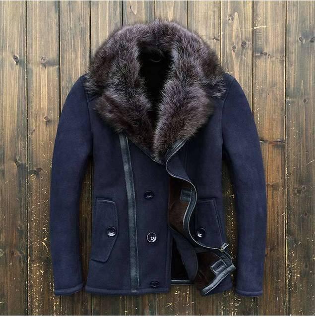 2015 Europe and America Men's Winter Scrub Sheepskin Fur Sheep Shearing Men's fur jacket Fashion Coat 8089