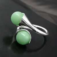 FREE Shipping RARE GREEN JADE BEAD ROUND GEMS 925 STERLING SILVER RING SIZE 7 8