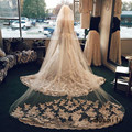 Champagne 3 m One Tier velo de novia Lace Edge Purfles Long tulle Cathedral Wedding Veils Bridal veils with Comb