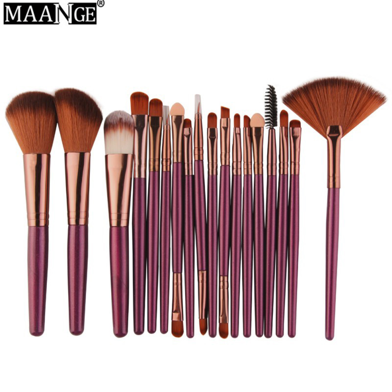 MAANGE 18 Pcs Professional  Makeup Brushes Set Comestic Powder Foundation Blush Eyeshadow Eyeliner Lip Make up Brush Tools купить