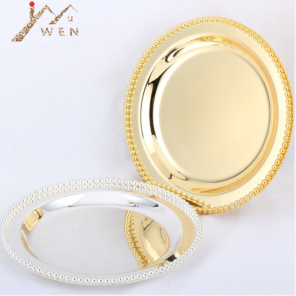 Luxury Silver / Gold Charger Plates Metal Tray 25 CM/ 9.8 Round Nut Plates/ Sweet/ Cake Plates For home Christmas Decoration