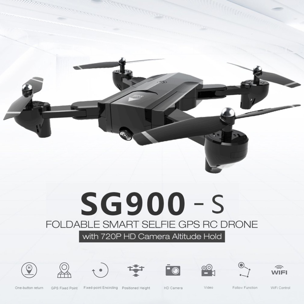 SG900-S 2.4G RC Camera Drone Foldable Selfie Smart GPS FPV Quadcopter with 720P HD Camera Altitude Hold Follow Me One Key Return