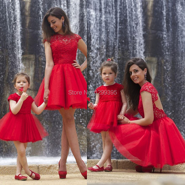 6f1a6c20c49 Mother Daughter Matching Dresses Lace and Tulle Short Red Prom Dress Open  Back Party Bridesmaid Homecoming Dresses Cap Sleeves