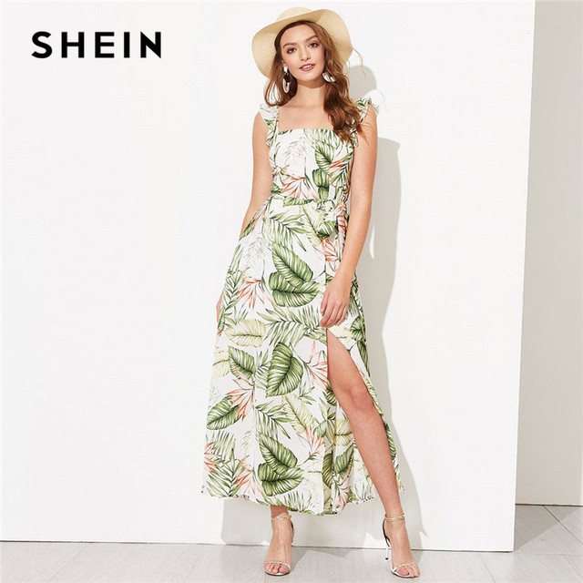2fcaf2f6ed SHEIN Vacation Jungle Leaf Ruffle Trim Smocked Detail Slit Maxi Dress Women  Summer Beach Spaghetti Strap