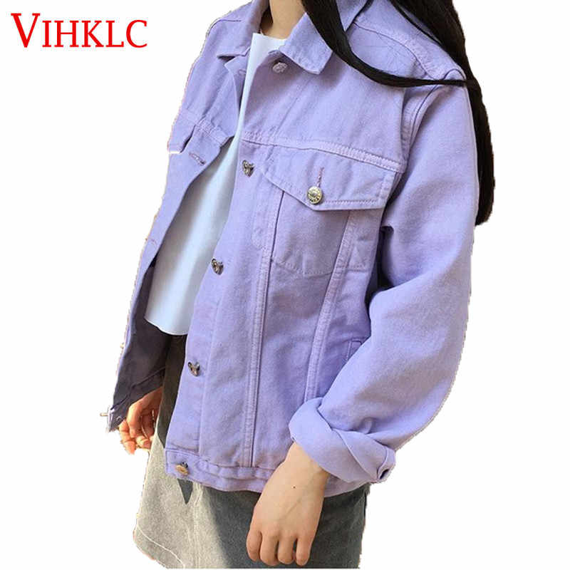 2018 Autumn Women Jacket Cowboy Korean Version Harajuku Tooling Solid Color Leisure Wild Loose College Wind Coat Fashion X17