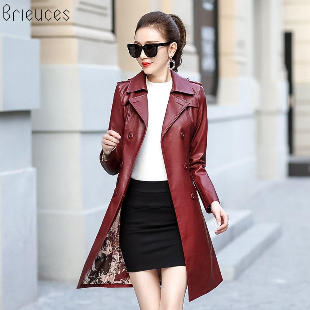 Brieuces 2018 Autumn Winter   Leather   Jacket Women PU Long Biker Coat Outerwear Long Sleeve Faux   Leather   Women's Windbreaker L-4XL