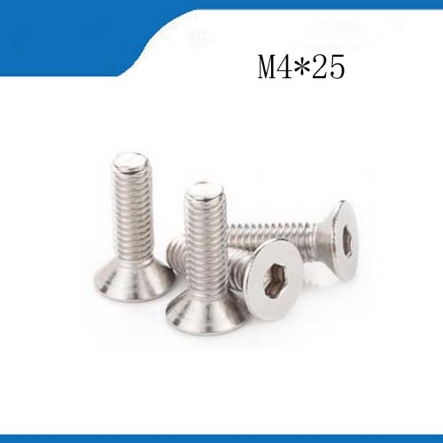 Free shipping 15pcs M4*25mm <font><b>M4X25</b></font> 316 Stainless steel Flat Screws Inner Hexagon Socket Countersunk Head stainless nails,bolts image