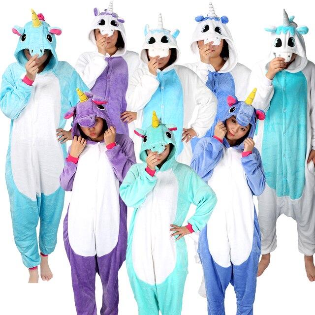 пижама женская кигуруми Для Женщин Единорог пижамы Наборы для ухода за  кожей фланелевые пижамы животных Наборы 19d8f339a44d7