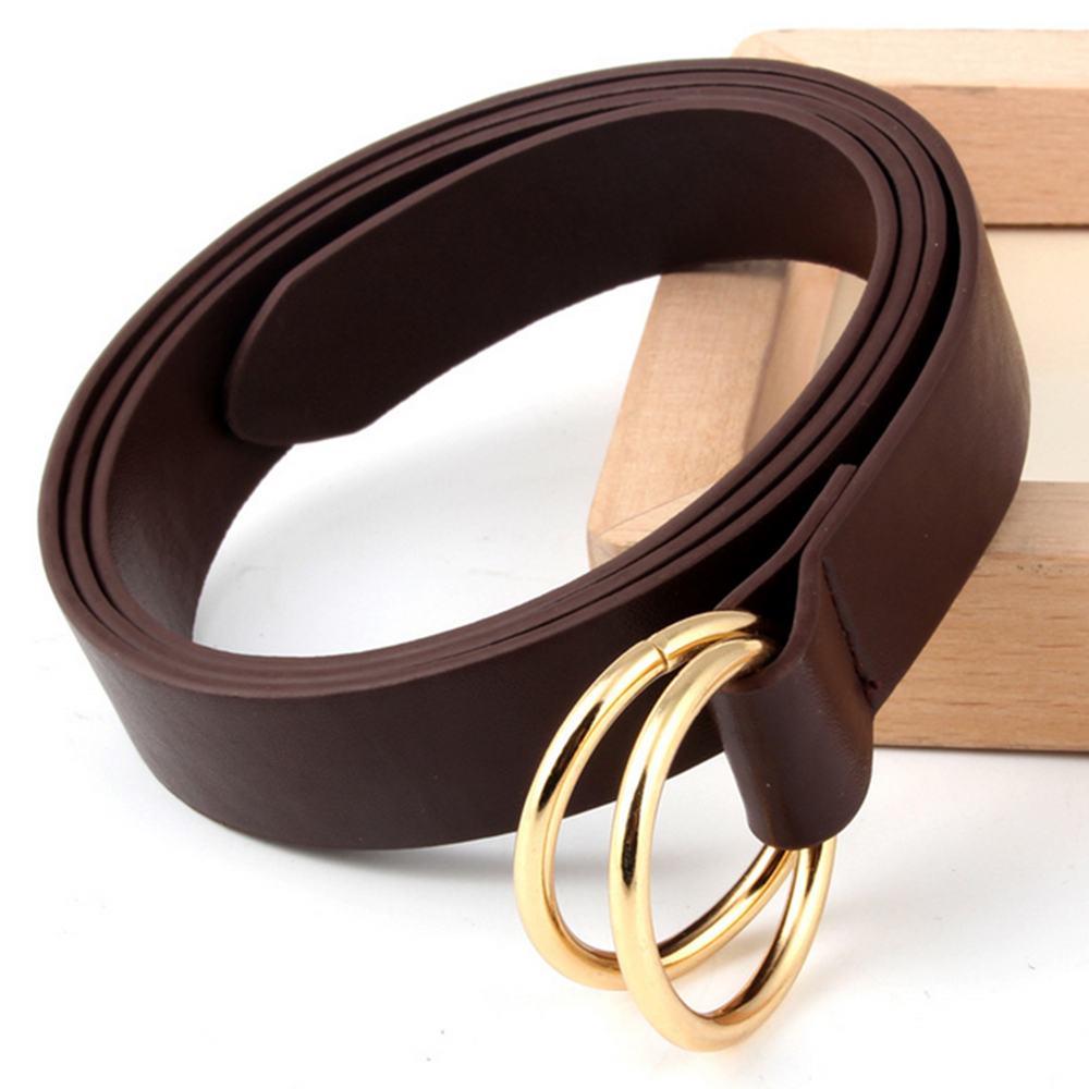 1 Pcs Fashion Women Candy Color Skinny Waist Belt Thin Leather Narrow Waistband Double Round Buckle Belt