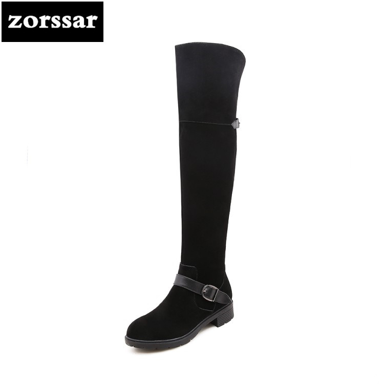 {Zorssar} 2019 Woman Thigh High Boots Winter Warm plush Women's shoes Cow Suede Flat heel Snow Boots Women Over The Knee Boots zorssar 2019 new fashion female snow boots winter plush thigh high boots suede leather flat heel women over the knee boots
