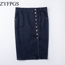 ZYFPGS 2019 Summer New Female Skirts Plus Size Shorts Denim Skirt Buckle Half Bag Hip Middle Geans Women L 0504
