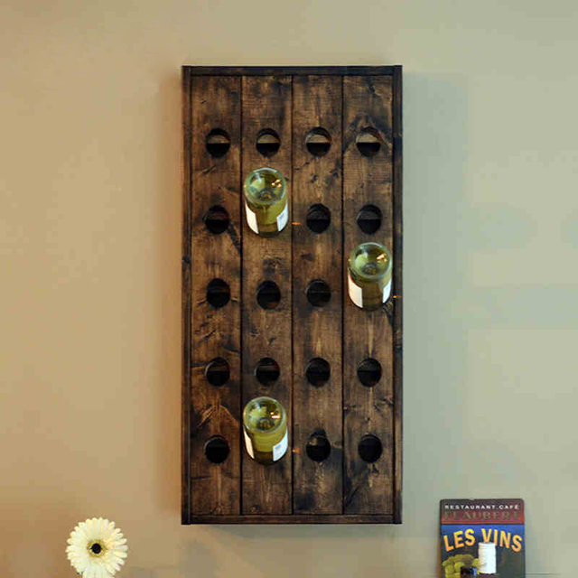 Wood Wall Wine Rack Bar Nordic American Country Clic Walnut Shelf Holder Vintage
