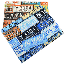 Chainho,License Plate Series Cotton Canvas Fabric,Handmade Fabric Cloth For Sofa Curtain Bag Home Decoration Material,50x150cm