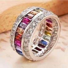 Модные обручальные кольца с разноцветным Цирконом 12 карат свадебные