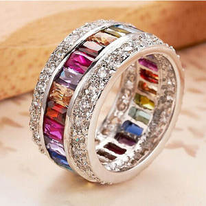 Crown Rings Jewelry Engagement-Rings Multi-Zircon Princess-Cut Yayi Wedding Silver-Color