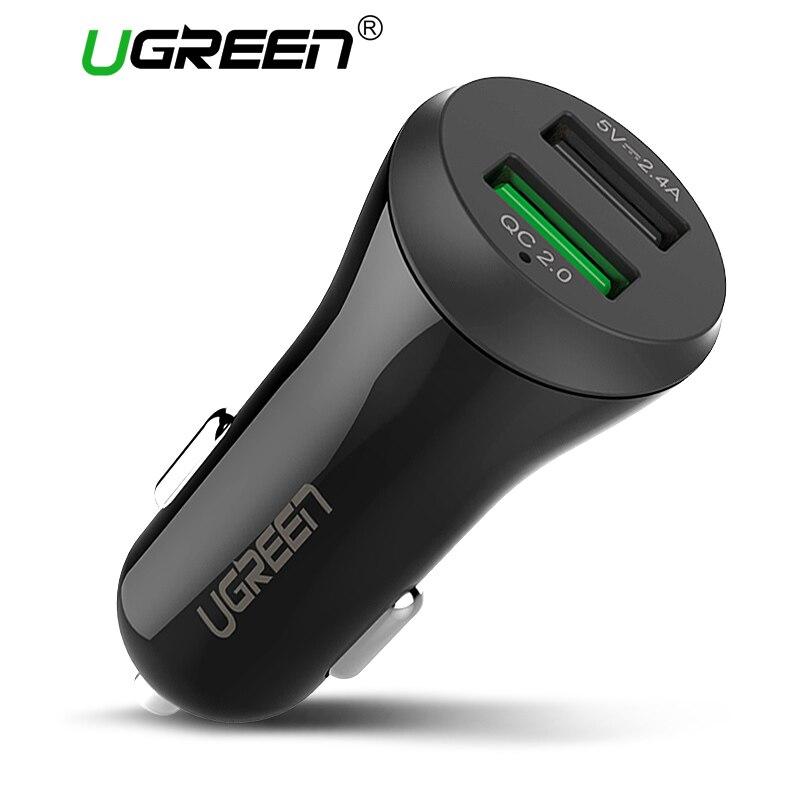 Ugreen автомобиль USB Зарядное устройство Quick Charge 3.0 2.0 мобильный телефон Зарядное устройство 2 Порты и разъёмы USB быстрый автомобиль Зарядное уст...