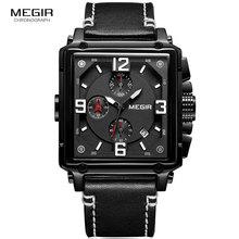MEGIR Mens Sports Chronograph Wrist Watch for Men Army Leather Square Quartz Stop Clock Man Relogios Masculino 2061Black