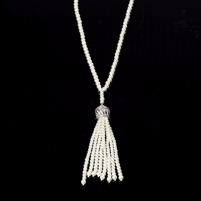 Deluxe 1920s Necklace For Woman Flapper Charleston Costume Accessories Great Gatsby Vintage Tassels Pedant Pearl Necklace