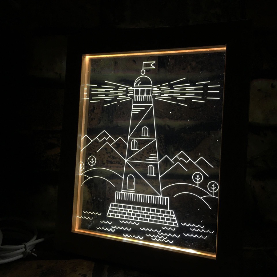 FL-733 3D Photo Frame LED Night Light Wooden Watchtower Decorative USB Lamp Christmas Gifts In-Outdoor Fairy Decoration Lights