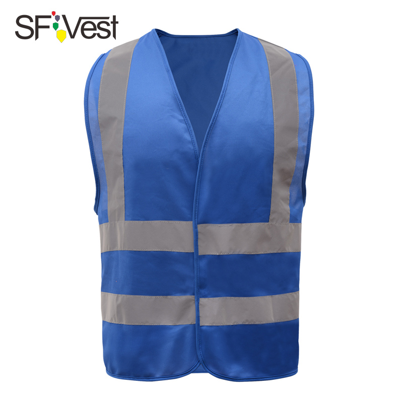 High visibility blue safety vest reflective with reflective stripes for construction work uniform safety clothing construction worker reflective safety vest with pockets with reflective tape