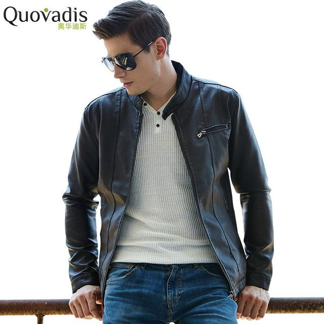 Jacket Quovadis2017 Motorcycle New Men Leather Fit Slim Brand vEAqE