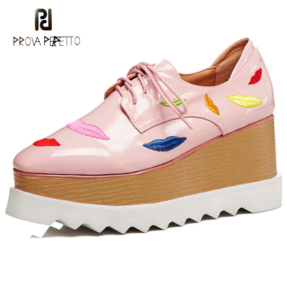 Prova Perfetto 2018 fashion sexy red mouth casual shoes women lace up platform patent leather round toe shoes pink black females red off shoulder lace up elastic waistband casual co ords