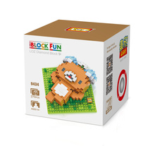LOZ 9434 Rilakkuma Leisure Time Brown Bear Headset Diamond Bricks Minifigures Building Block Compatible with Legoe