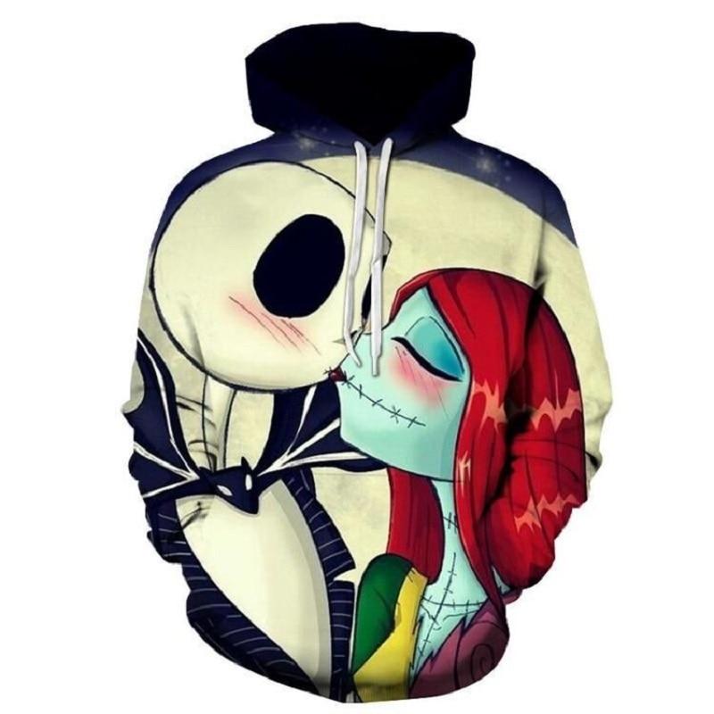 2018 new baggy hooded couple hooded black skeleton bride printed hoodies