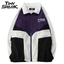 Harajuku Windbreaker chaquetas Hip Hop suelta cremallera pista chaqueta sin  capucha Color Block Patchwork Casual Streetwear 220280e4b68
