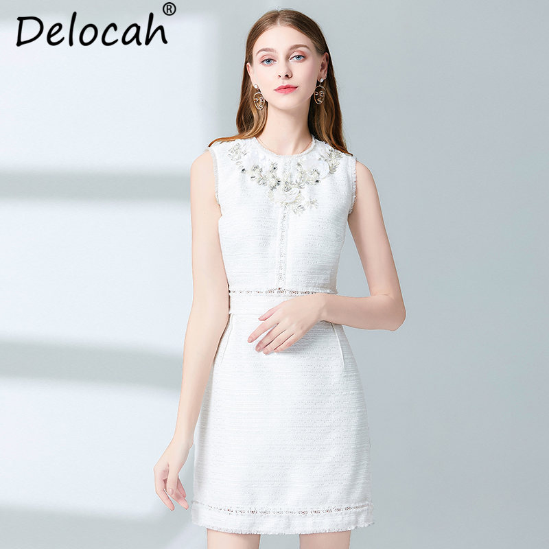Delocah New 2019 Women Spring Summer Dress Runway Fashion Designer Elegant Appliques Crystal Print Casual Sleeveless