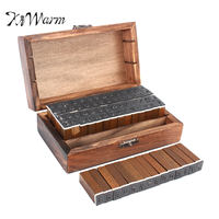 KiWarm 70pcs Set Stamp Korean Number Alphabet Handwriting Capital Wooden Box Rubber Stamp Gift For Kids