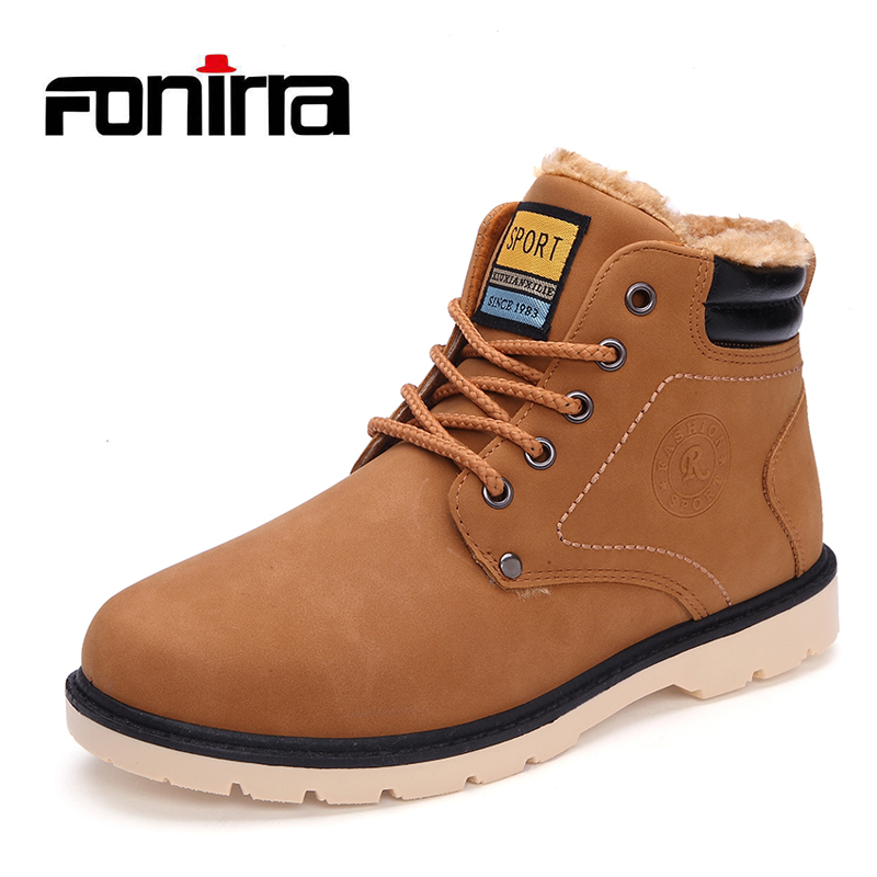 FONIRRA Men Winter Boots High Quality Keep Warm Snow Boots Man Leather Shoes Lace Up Casual Shoes Working Fashion Men Boots 761