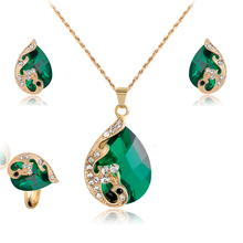 Jewelry Sets For Women Wedding Bridal Dress Accessories Water Drop Crystal Necklace Earrings Ring Set  K Gold Plated Party 2017