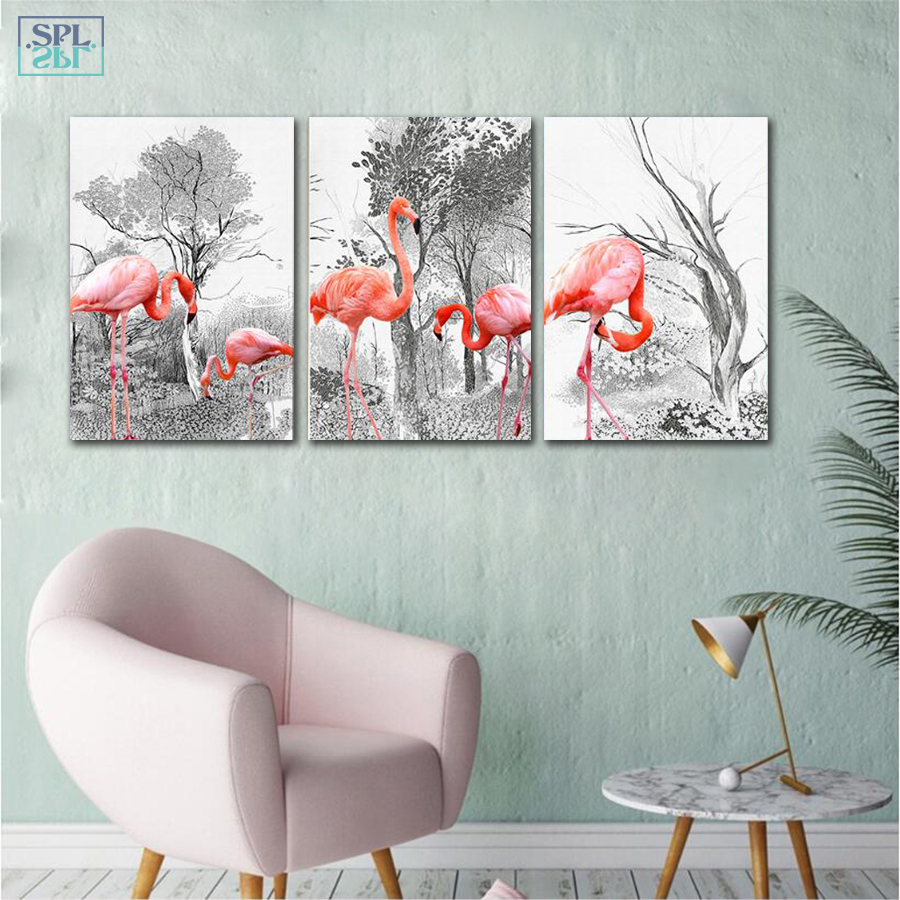 SPLSPL Nordic Minimalist Pink Flamingo Canvas Art Print Painting And Poster Birds Animals Wall Picture For Living Room No Frame