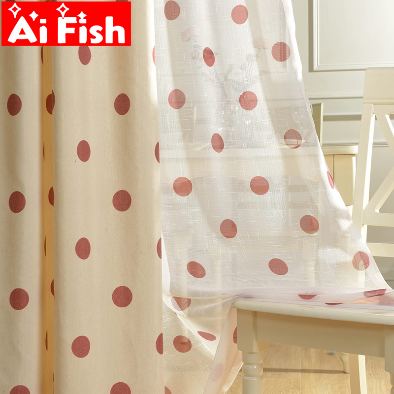 Polka Dot - Simple And Cute Polyester Cotton Curtains Fabrics Window Screen Voile Printed Yarn Panel Kids Room Bedroom  MY022#4