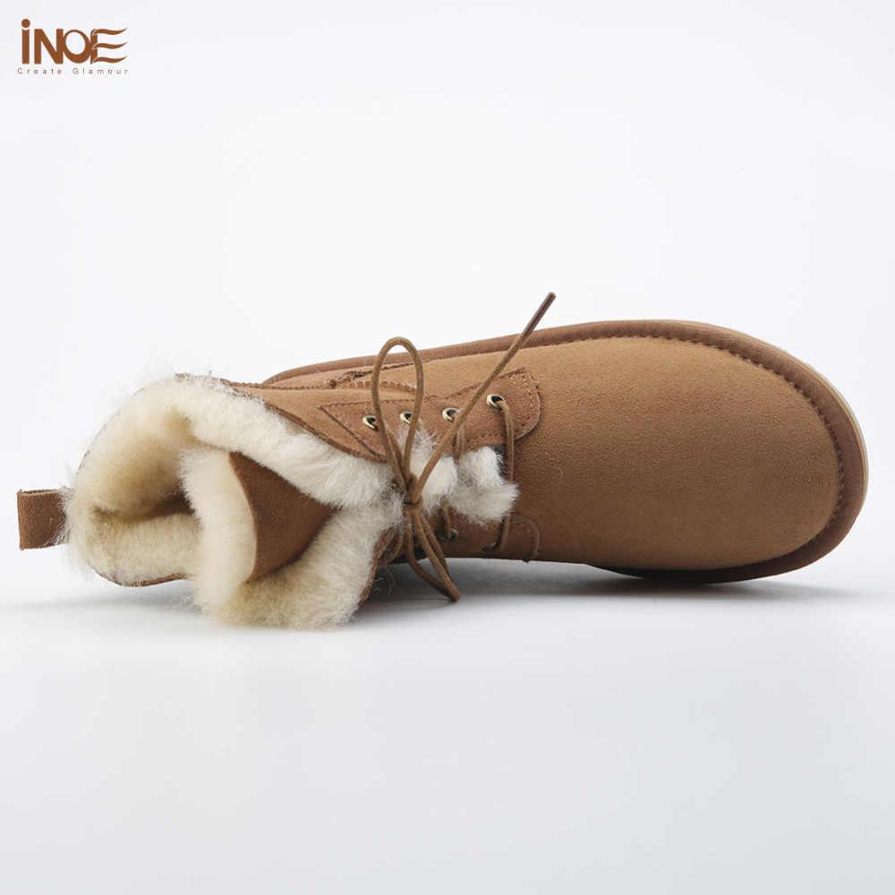 Yeni stil moda hakiki koyun derisi deri kürk astarlı kadın ayak bileği kış kar botları bayanlar lace up rahat kış ayakkabı