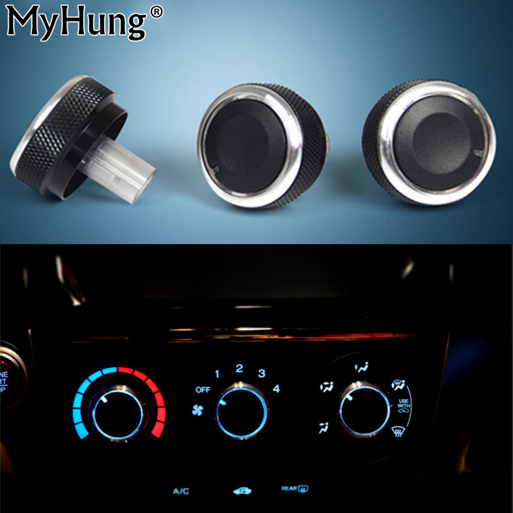Auto Accessory Heat Control Knob Car Air Conditioning Knob AC Knob For Honda City 2008 To 2014 3Pcs Aluminum Alloy Car-Styling