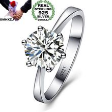 OMHXZJ Wholesale Personality Fashion OL Woman Girl Party Wedding Gift White Simple AAA Zircon S925 Sterling Silver Ring RN121
